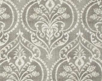 """Two 50"""" wide, pair, designer curtain panels, drapes Swavelle/Mill Creek Dalusio Damask pebble grey, ivory"""