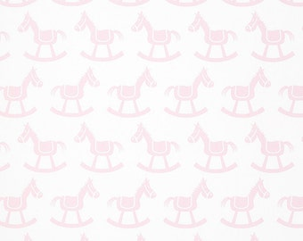 Rocking chair cushions, 2 piece, Tufted, Kids print, baby girl, rocking horse, white and lightpink nursery