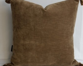 RTS mocha, tobacco brown, velvet throw pillow with tassels, 20 inches square upholstery cushion