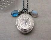 Silver Oval Locket, Vintage Sterling Silver Locket Necklace, Gemstone Locket, Iolite Necklace, Blue Gemstone Jewelry, Push Present Jewelry