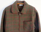 Vintage plaid jacket Plaid wool jacket Plaid wool blazer Alfred Dunner jacket Zippered jacket Womens Size 12 Rust brown and olive green