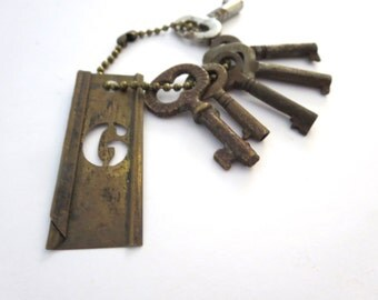 6 vintage skeleton keys, old small keys, little skeleton keys, old skeleton keys, skelton, rustic collection, unusual keys, stencil 6, bit 4