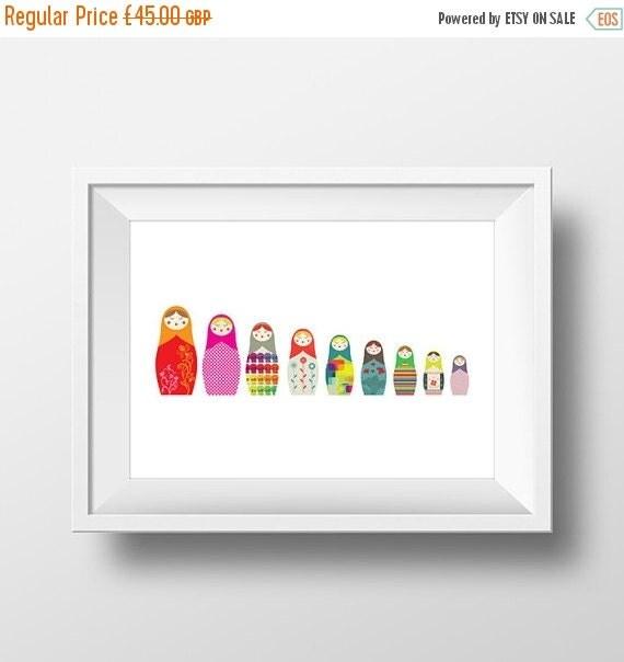 Summer SALE A3 Matryoshka Russian Dolls Big to Small - giclee print - fine art paper - 29.7x42cms