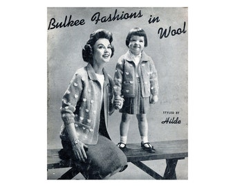 1950s Bulky Sweaters Knitting Patterns Womens Mens Children Pullover Cardigan Jacket Turtle Neck Bulkee Vintage Sweater Knitting Patterns