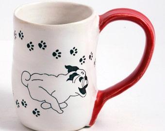 White and Red Stoneware Fawn Turbo Pug Mug