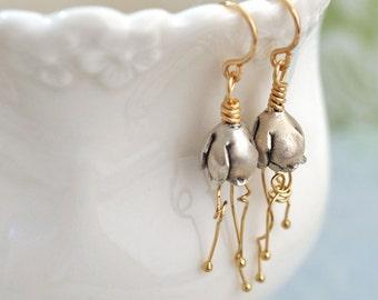 mix metal flower earrings, sterling silver and gold filled earrings, BELL FLOWERS, sterling silver bell flower earrings, dainty everyday