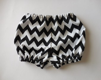 Black and white chevron baby bloomers diaper covers