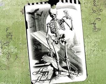 Halloween, Skeleton, Vintage Look, Happy Haunting, Macabre, Skeleton Tags
