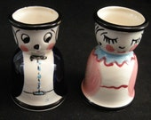 1950's Egg Cups, California Pottery by Ann Shaffer of Los Angeles California, 1950's Kitchen, Breakfast Egg Cups, Figural Egg Cups, Eggs