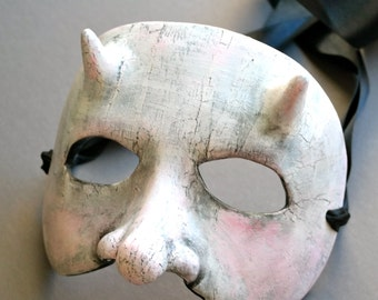 OOAK Handmade White Demon, Devil Wall Mask for Halloween, Masquerade, Ren Faire - One of a Kind