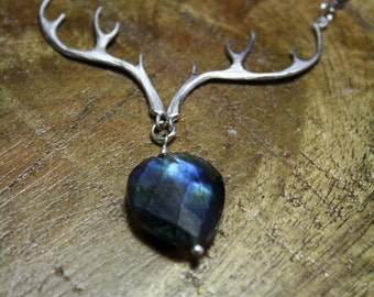 sterling silver antler and labradorite woodland jewelry steampunk necklace