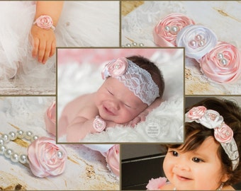 Baby Girl Fabric Flower Headband Pearl Bracelet Set, Pink White Rosette, Lace Satin, photo prop, baby shower gift First Newborn Baby Outfit