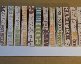 Christian Words Decorated Clothespins -- Set of 12 DOUBLESIDED