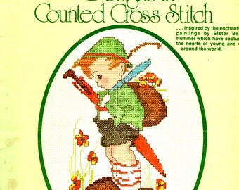 Authentic Hummel Designs Tree Swing Umbrella Swans Fence Caroler Dog Sister Berta Counted Cross Stitch Embroidery Craft Pattern Leaflet 5073