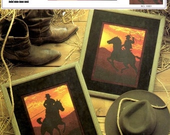 Cowboy Sunset Horseback Riding Roping Lariat Red Yellow Sky Range Silhouette Counted Cross Stitch Embroidery Craft Pattern Leaflet CBL 10001