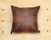 Tan on Brown Leather Pillow ... Luxe Leather Cushion with Cross