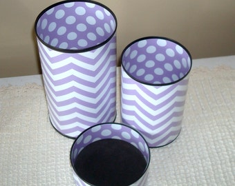 MORE COLORS AVAILABLE Dorm Decor Fun Desk Accessories, Chevron Desk Accessories, Polka Dot Pencil Holder, Lilac, Lavender, Purple -  858