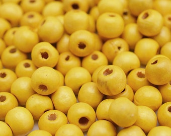 9mm Wood Beads, Yellow Beads, 250 Pieces,  Round Wooden Beads  -B50