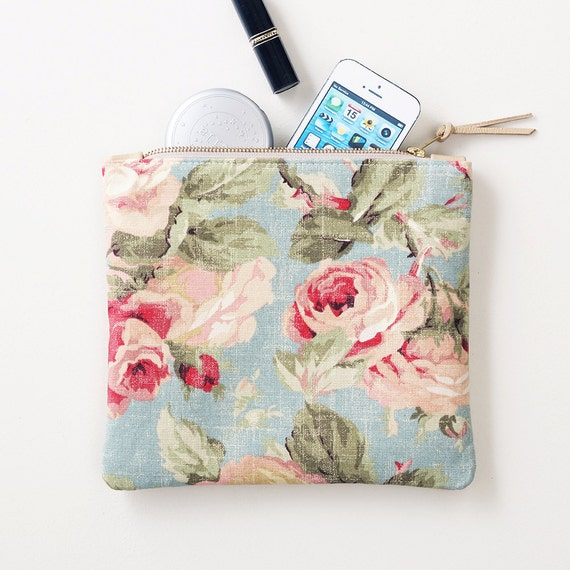 Floral Fabric and Leather Clutch, Zipper Pouch, Fabric and Leather Wristlet, Everyday Clutch, Wedding Clutch, Bridal Clutch, Bridesmaid Gift