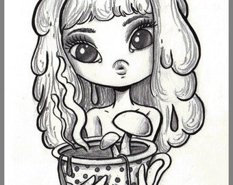 Day #184 - Mushroom Tea - Alice in Wonderland inspired  original sketch a day drawing! 5.5 x 8.5