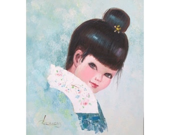 Young Asian Lady Portrait * Vintage Oil Painting * Creative Interiors * Signed