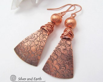Textured Copper Earrings, Modern Chic Jewelry, Bohemian Boho Glam Statement Jewelry, Metalwork Earrings Artisan Indie Handmade Metal Jewelry