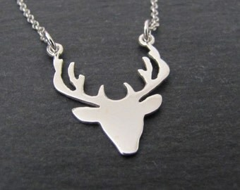 Deer Necklace, Sterling Silver Necklace, Pendant Necklace, Jewelry, Gift