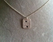 """Sterling """"f*ck that sh*t"""" sterling silver pendant necklace -- small rectangle - snarky mature language humor funny"""