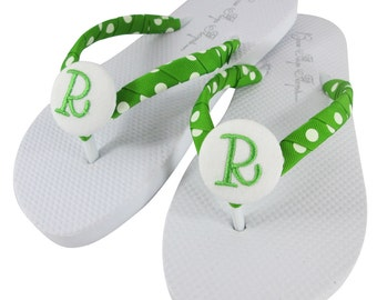 Bridesmaid Flip Flops - in white flats with Apple Green Lime monogram initials- choose colors for wedding for a personalized gift all sizes