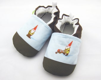Classic Vegan Blue Gnomes / Non-Slip Soft Sole Baby Shoes / Made to Order / Babies Toddler Preschool