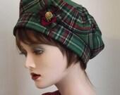 Ladies Fabric Hat, Green Tartan Scottish Tam