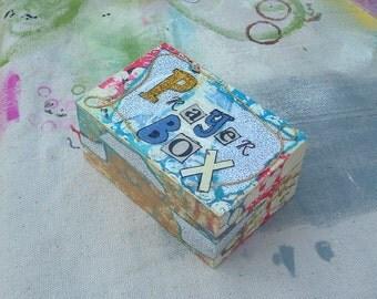 Gold glittered Prayer Box altered art Boho style