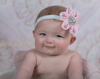 Baby Headband,Pink Headband,Baby flower Headband,Infant Headband,Baby Girl Headband,Photo Prop, Newborn headbandZoe Headband