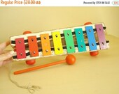 Vintage xylophone, Fisher Price Xylophone, toddler toy, pull toy, nursery decor 1978, musical toy, collectible toy, rainbow colors