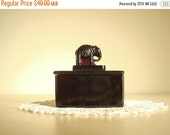 Amethyst glass box, elephant top, black glass cigarette box, small trinket box, stash box, 1930s pachyderm, vanity decor, Valentine Day gift
