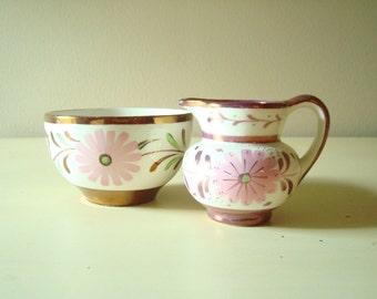 Pink daisy lustreware creamer and sugar, copper lustre, luster ware cream pitcher and sugar bowl, Gray's Pottery, Old Castle