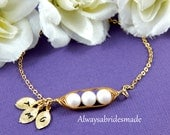Three Peas In A Pod Bridesmaids or Bridal Bracelet , Personalized Bracelet, Gold Filled, Mother's Bracelet