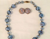 Blue gold Murano Glass Necklace - Clip Earrings - Choker 1950s