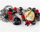 FMA Edward Figure Necklace, Steel Gray, Red, Stainless Steel, Anime, Kawaii