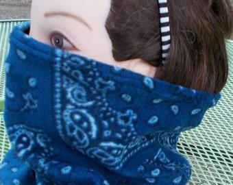 FLEECE Face/Neck TUBE Warmer Men Womens Blue BANDANA Print Stretch Gator