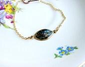 Faux Stone Bracelet, Galaxy Bracelet, Chain Stacking Bracelet, Layering Bracelet, Resin Jewelry, Minimalist Bracelet, Boho Bracelet