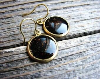 Mica Earrings, Copper Earrings, Gold Drop Earrings, Geology Earrings, Simple Minimalist Earrings