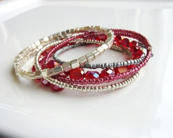 Red and Silver Memory Wire Bangles, Wire Bracelets, Beaded Bangles, Beaded Bracelets, Minimalist Stacking Bracelets