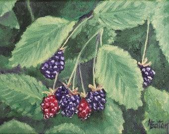 Berry Painting, Blackberries, Blackberry, Fruit Painting, Fresh Blackberries, Original Oil Painting, Raspberries, Arkansas, Helen Eaton
