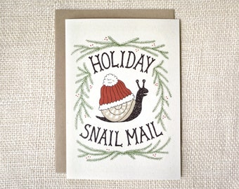 Sale 50% Off - Funny Christmas Card - Holiday Snail Mail
