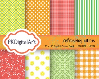 """Refreshing Citrus Digital Paper - """"Refreshing Citrus""""  patterns backgrounds, projects, design, scrapbooking"""