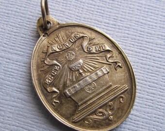 Vachette Antique Silver Vermeil Communion Antique Religious Medal Dated 1904  SS352