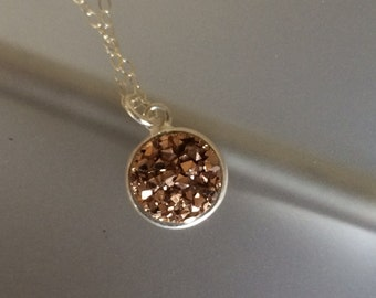Druzy Quartz Necklace in Rose Gold and Sterling Silver