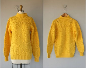 Vintage Yellow Wool Pullover | Vintage Ralph Lauren Sweater | 1980s Knit Pullover | Cable Knit Sweater | Chunky Cable Knit Pullover