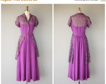 25% OFF SALE... Vintage 40s Dress | 1940s Peplum Waist Dress | 1940s Dress | Floral Dress 30s